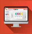 slide presentation on computer screen flat icon vector image vector image