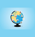 social media network with circle world and people vector image vector image