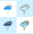 sun behind cloud with rain icon set in flat and vector image