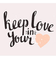 Valentines Day Card with stylish Love lettering vector image