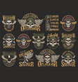 vintage colorful military emblems set vector image