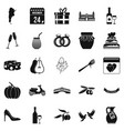 wedding icons set simple style vector image vector image