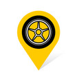 wheel disc with tire on a pin place point symbol vector image vector image