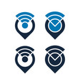 wifi icons design with map pointers isolated vector image