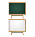 wooden table on chalk board with chalk isolated vector image