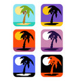 icons set palm tree emblems vector image