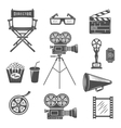 Cinema Black White Icons Set vector image