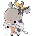 A small cow with a milk bottle Cartoon vector image