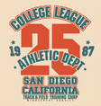 athletic t-shirt graphic design california vector image
