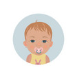 baby with pacifier emoticon child with soother vector image vector image