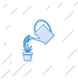 blue line watering can sprays water drops above vector image vector image