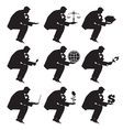 Businessman sitting thinking set of silhouettes vector image vector image