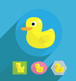 cartoon flat shape rubber duck vector image vector image