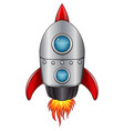 cartoon spaceship with flame isolated on white bac vector image