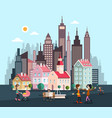city with skyscrapers and houses abstract flat vector image vector image