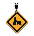 color caution diamond emblem with laborer and vector image vector image