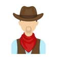 Cowboy icon in cartoon style isolated on white vector image vector image