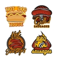 creative set logos design with bbq sausages vector image vector image
