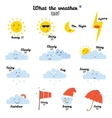 Cute and funny smiley weather icons vector image