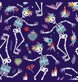 dia de los muertos bright colored seamless pattern vector image