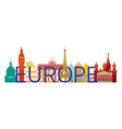 europe skyline landmarks with text or word vector image vector image