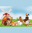 farm in nature scene with windmill and animal farm vector image vector image