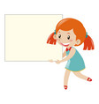 girl in blue holding blank sign vector image