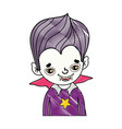 grated boy vampire with teeth and gothic suit vector image