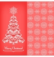greeting card with christmas tree red vector image