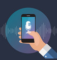 hand with mobile phone with microphone button and vector image