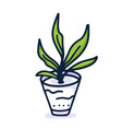 Home plant hand draw icon in cartoon style on