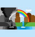 industrial landscape plant emissions into river vector image vector image