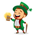 leprechaun with a pint of beer vector image vector image