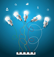 Light bulbs ideas concept with business icons vector image vector image