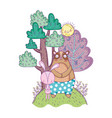 little bear teddy and rabbit in the landscape vector image