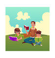man woman boy reading books sitting and lying on vector image vector image