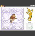 maze educational game with funny monkey and banana vector image vector image
