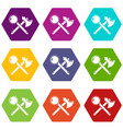 medieval axe and mace icons set 9 vector image