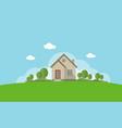 modern house with garden flat design concept vector image