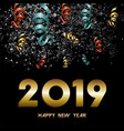 new year 2019 firework confetti gold card vector image vector image