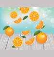orange fruits falling on wooden planks vector image vector image