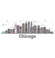 outline chicago illinois city skyline with color vector image vector image