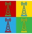 Pop art transmitter icons vector image