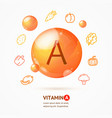 realistic detailed 3d vitamin a card concept vector image vector image