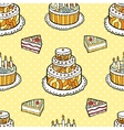 Seamless pattern with cakes on warm dotted vector image vector image