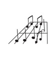 set of musical notes on a pentagram vector image vector image