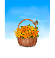 Summer background Basket full of flowers and a