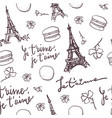 vintage paris black and white seamless pattern vector image