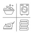 washing ironing clean laundry line icons washing vector image vector image