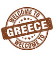 welcome to greece brown round vintage stamp vector image vector image